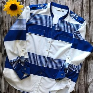 Kim Rogers blue and white stripe blouse